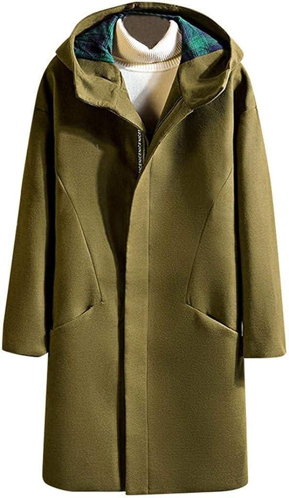 Men's Trenchcoat with Hood Winter Warm Casual Windproof Jacket Coat Outwear