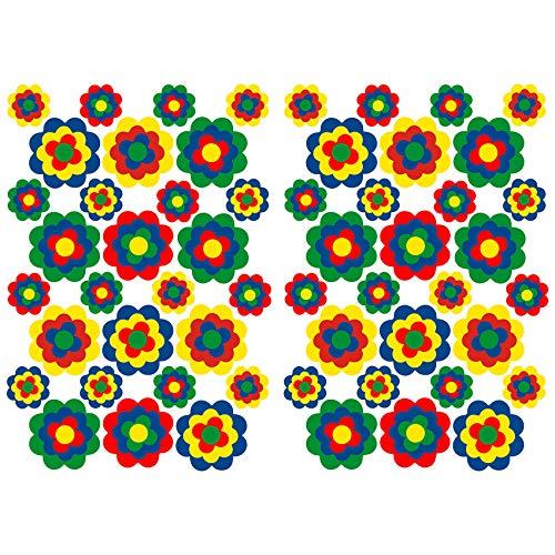 Finest Folia 56 Hippie Stickers Bloemen Sticker zelfklevend Flower Power Decor voor Auto Fiets bus Muren Meubels Retro Style jaren jaren '70 cult Glanz (R063) multicolor
