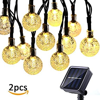 Icicle Outdoor Solar String Lights,Waterproof 30 LED Crystal Bubble Globe String Lights for Outdoor/Indoor Decorations, Warm White(2 Pack)