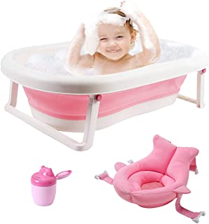 3-in-1 Baby Bathtub Portable Collapsible Toddler Bath tub Foldable Infant Shower Basin Anti Slip Skid Proof with Baby Cushion & Water Rinser Cup for 0-5 Years (Pink tub+Cushion)