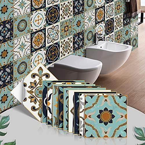 ZHUZC Pegatinas adhesivas para azulejos de vinilo adhesivo para cocina, baño, chimenea, autoadhesivas, impermeables, decoración de arte vintage DIY variedad de patrones (20 x 20 cm), verde bohemio