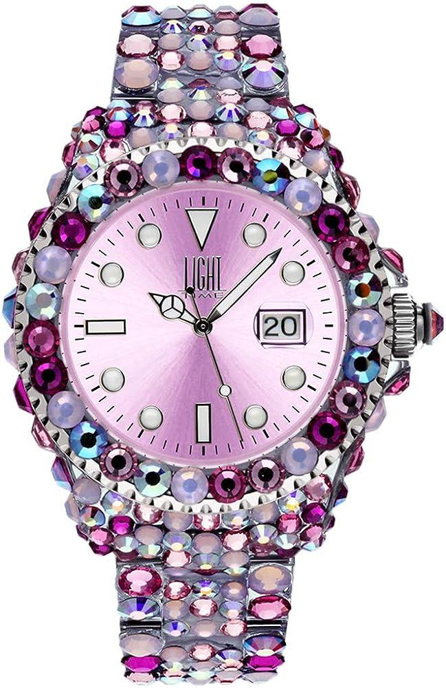 Light time mediterraneo, orologio per donna, in policarbonato con 300 cristalli preciosa L602F