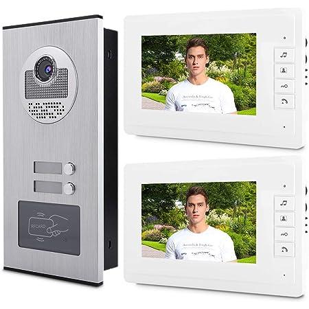 7 Zoll LCD Video Türsprechanlage 2 Familienhaus Gegensprechanlage mit Kamera