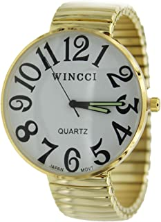 Super Large Face Stretch Band Easy to Read Watch-Gold Tone