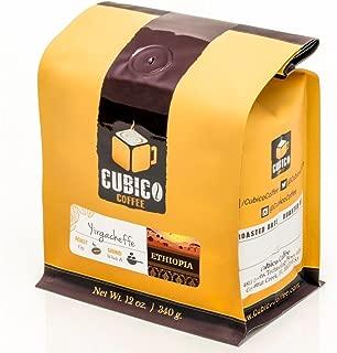 Ethiopia Yirgacheffe Coffee - Whole Bean Coffee - Freshly Roasted Coffee - Cubico Coffee - 12 Ounce (Single Origin Ethiopian Coffee)
