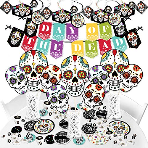 Big Dot of Happiness Day of the Dead - Halloween Sugar Skull Party Supplies - Banner Decoration Kit - Fundle Bundle