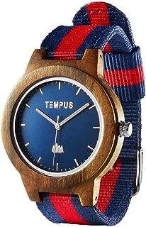 Willoughby - Wood Watch Minimalist Wooden Wristwatch Striped Nylon Oxford Band - TWW06