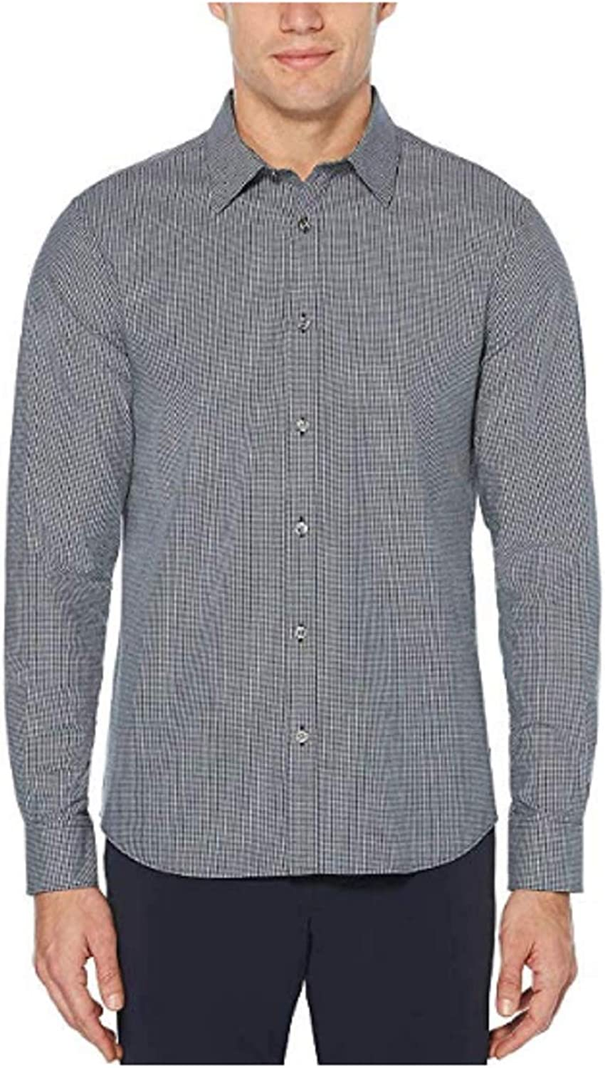 Perry Ellis Men's Long Sleeve 'Untucked' Button Down Stretch Fabric Casual Sport Shirt