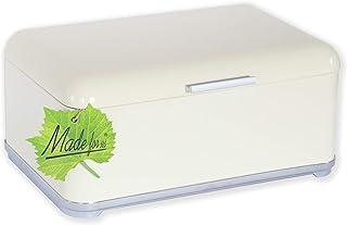 Made for us 50er-Jahre Retro-Brotkasten mit Einbrennlack Emaille und effektiven Lüftungslöchern in Farbe Vintage Creme Vanilla-Gelb, EIN Küchenklassiker Brotbehälter mit Deckel