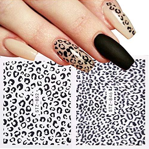 BLOUR 1 Uds Pegatinas de uñas de Ojo de Leopardo Deslizadores de Transferencia de Agua Cubierta Completa calcomanías de diseño Fresco decoración geométrica Envuelve manicura JISTZ816-855