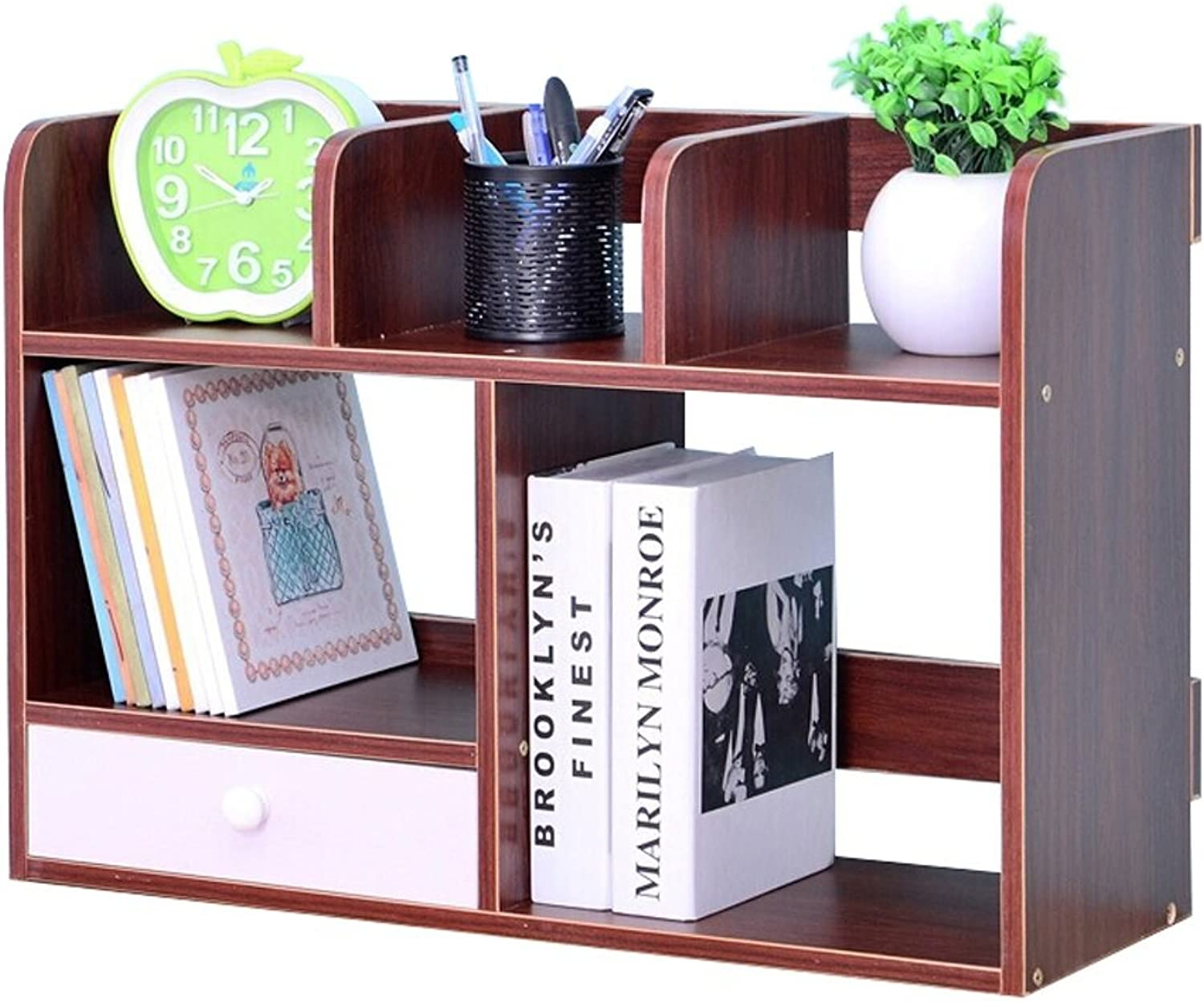 Nordic Style with Drawers Wooden Desktop Bookshelf Large Space Bookcase Bookshelf