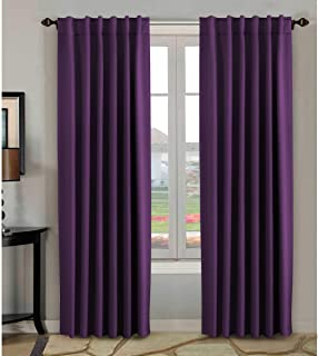 H.VERSAILTEX 100% Blackout Curtains 84 Inch Long,Thermal Insulated Rod Pocket/Back Tab Window Treatment Panels/Drapes - Sold by Pair, Plum Purple