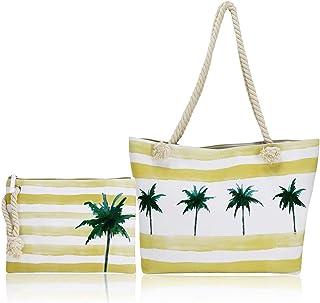 FARI Borsa da spiaggia grande, da viaggio, borsa da spiaggia, borsa a tracolla in tela, chiusura con cerniera superiore