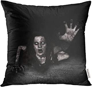 Golee Throw Pillow Cover Movie 3D of Scary Ghost Woman Coming Out from The Hole Grunge Wall Horror Mixed Media Ground Anger Decorative Pillow Case Home Decor Square 18x18 Inches Pillowcase