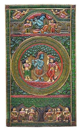 Inde Grand Tableau Mural Fein Bois Peint Portrait de Luxury de Parc