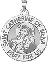 PicturesOnGold.com Saint Catherine of Siena Religious Medal - - 3/4 Inch Size of a Nickel -Sterling Silver