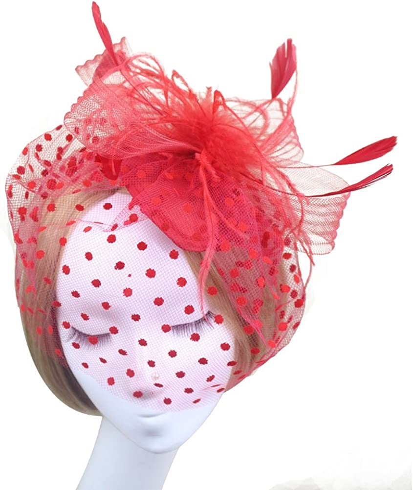 OULII Feather Fascinator Hair Clip Hat Women Cocktail Party Derby Hat (Red Flower)