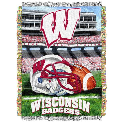Wisconsin Badgers NCAA Woven Tapestry Throw (Home Field Advantage) (48x60 )