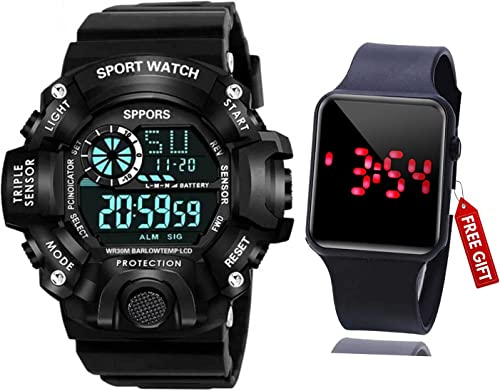 Brand A Digital Watch with Square LED Shockproof Multi Functional Automatic Black Color Strap Waterproof Digital Sports Watch for Men s Kids Watch for Boys Watch for Men Pack of 2
