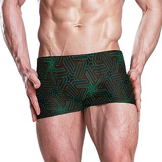 1033af9c45 HU MOVR Japanese Tessellation Star Men's Swimsuit Solid Square Leg  Endurance Swim Trunks Swimwear