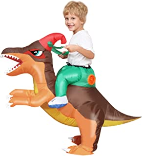 Camlinbo Child's Inflatable Dinosaur Costume Corythosaurus Rider Halloween Party Blow up Costume Kids Age 4-10Y