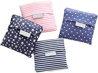 Kaxich Reusable Shopping Bags Foldable Grocery Bags Eco-friendly Shopper Tote Bag Folding into Attached Pouch (4 Pack)