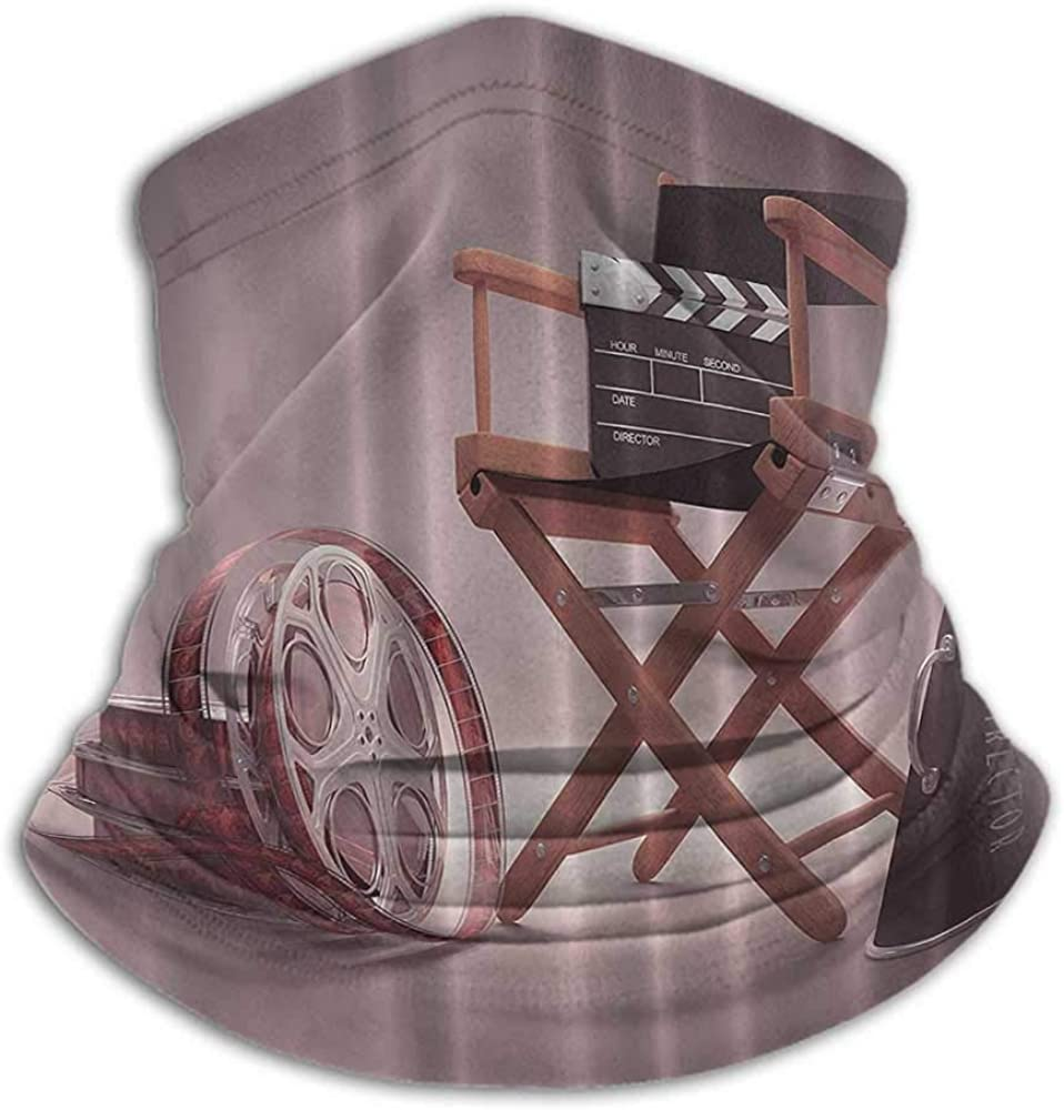 Seamless Face Bandana Directors Chair Seat Movie Lover Film Set Studios Strip Ribbon Storyboard Render Art Digital Print Aubergine Purple Brown Fishing Neck Gaiter Sun Protection