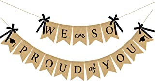 2019 Graduation Party Decorations, Burlap We are So Proud of You Graduation Banner, Rustic Vintage Burlap Banner with Ribbon Bow, Great for Graduation Party, Grad Party, Home Party Decor Backdrop (No DIY Required)