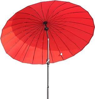 Angel Living 250cm Parasol de Acero de Jardín con Manivela, Sombrilla Inclinada Muy Estado con Mástil de Diamentro de 38mm, para Jardín Patío Terraza (Rojo)