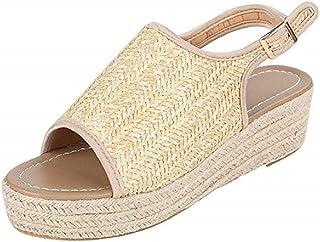 1d3f5242 Sandalias Plataforma Cuña Mujer Alpargatas Tacon Verano Bohemias Romanas  Abierto Playa Gladiador Tacon 6cm Zapatos de