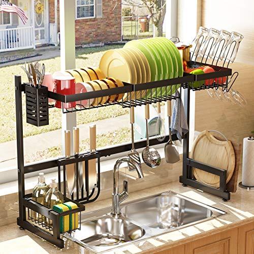 Over The Sink Dish Drying Rack - SAYZH Adjustable 2-Tier Large Dish Dryer Rack for Kitchen Organizer Storage Space Saver Shelf Black