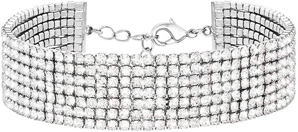Stroili, bracciale per donna, multifilo largo, in metallo rodiato con strass 1668678