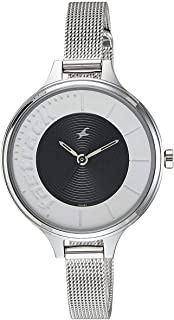 Fastrack Women's Black Dial Stainless Steel Band Watch - T6122SM02
