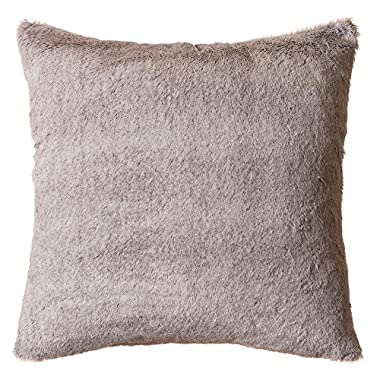 Faux Fur Throw Pillow 18 x18  With Insert, Grey Mink
