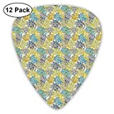 Guitar Picks - Abstract Art Colorful Designs,Foliage Leaves Pattern With Doodle Drawing Style Colorful Blooming Nature Design,Unique Guitar Gift,For Bass Electric & Acoustic Guitars-12 Pack