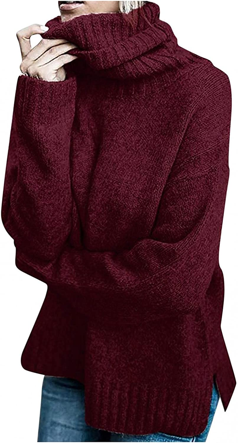 iLUGU Women's Casual Turtleneck Knitted Sweater Solid Split Long Sleeve Loose Pullover Top Winter