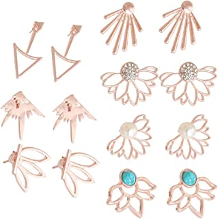7 Pairs Lotus Flower Earring Studs Chic CZ Earrings Jackets For Women Girls Gift Simple Chic Studs