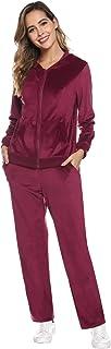 Women's Sweatsuit Set Zip Hoodie Sweatshirt & Sweatpants Long Sleeve Sportswear with Pocket
