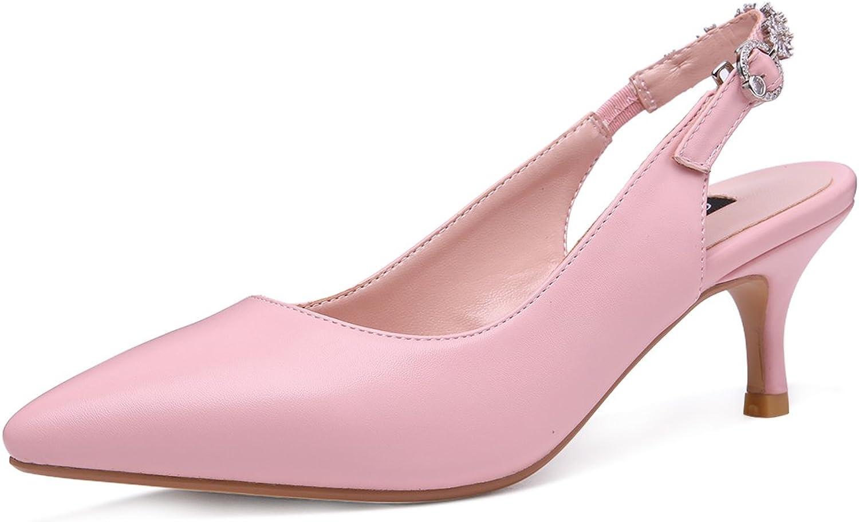 Onlymaker Women's Pointed Toe Slingback Rhinestone Ankle Strap Kitten Heels Pumps Wedding Bridal Dress shoes