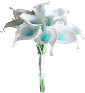 Lily Garden Artificial Wedding Floral Set Turquoise and White Calla Lily with Silver Ribbon and Bling (1 Dozen Bouquet)
