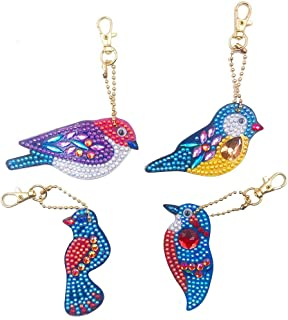 DIY Diamond Painting Keychains, Special Shaped Birds Diamond Painting Ornaments, Small Diamond Art for Kids and Adult Beginners (4pcs)