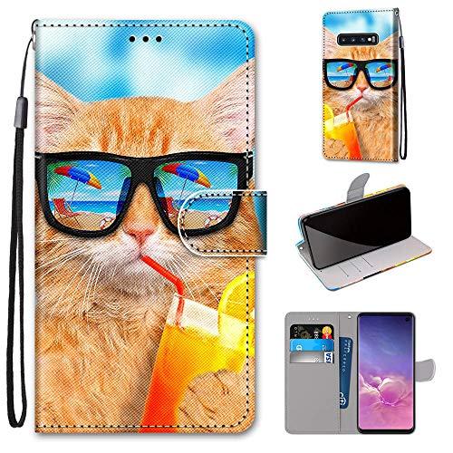 Miagon Flip PU Leder Schutzhülle für Samsung Galaxy S10e,Bunt Muster Hülle Brieftasche Case Cover Ständer mit Kartenfächer Trageschlaufe,Limonade Katze
