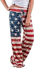 Buauty Women's Casual Pajama Pants Floral Drawstring Wide Leg High Waist Palazzo Lounge Pants S-3XL