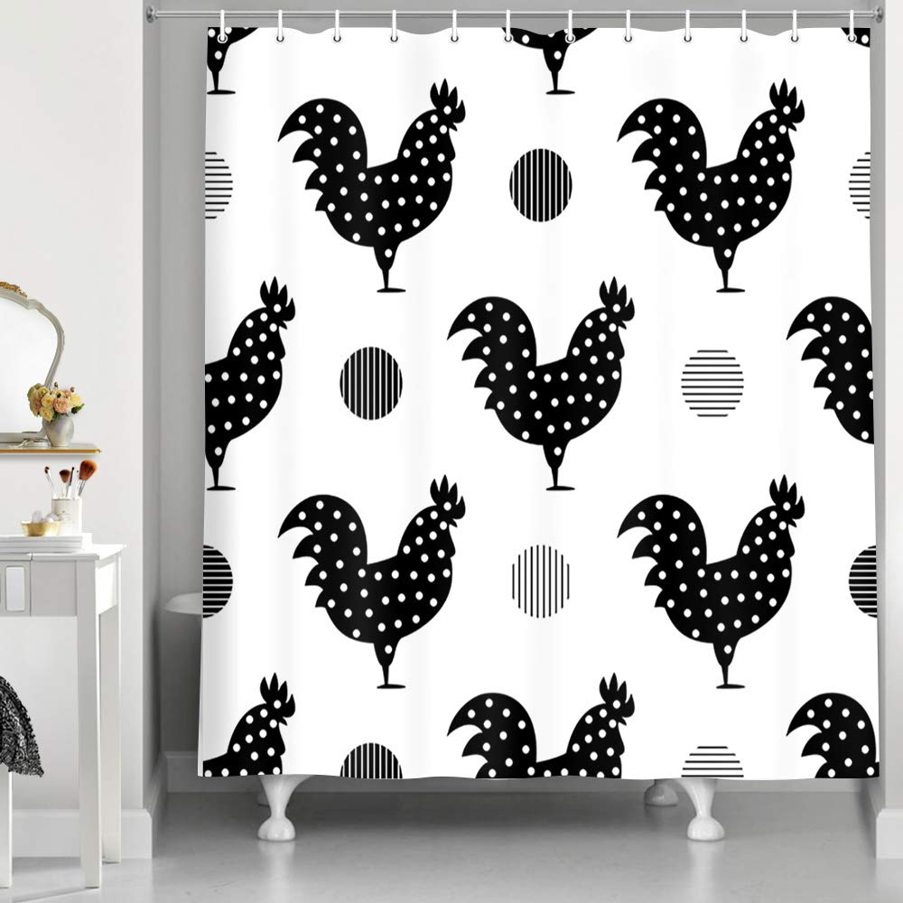 Amazon Com Nymb Modern Farmhouse Art Bath Curtain Farm Animals Black And White Chicken Rooster With Graphics Dots Shower Polyester Fabric Curtains For Bathroom Hooks Included 69x70in Home Kitchen