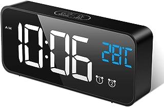 MOSUO Reloj Despertador Digital, LED Despertadores Electrónicos Espejo con Temperatura y 2 Alarma, Snooze, Sonido y Brillos Regulable, Carga USB para Dormitorio, Oficina, Negro