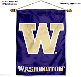 College Flags and Banners Co. Washington Huskies Banner with Hanging Pole