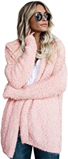 Autumn Winter Jacket Hooded Jacket Long Sleeve Sweater Cardigan Jacket Women Top Female Fleece Coats - Pink L