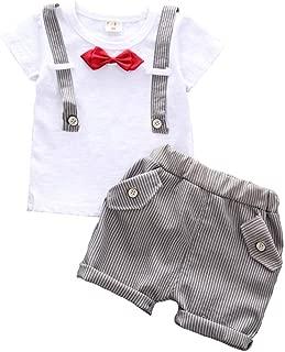 Fairy-Baby Kids Boys Short Sleeve Bowknot Fake Suspender Cotton T-shirt Tops+Shorts