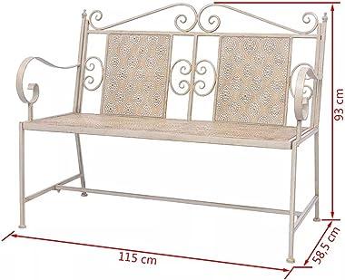 vidaXL Garden Bench Vintage-style Outdoor Seats Patio Seating Bench 2 People Stable Garden Furniture 115cm Powder-coated Stee