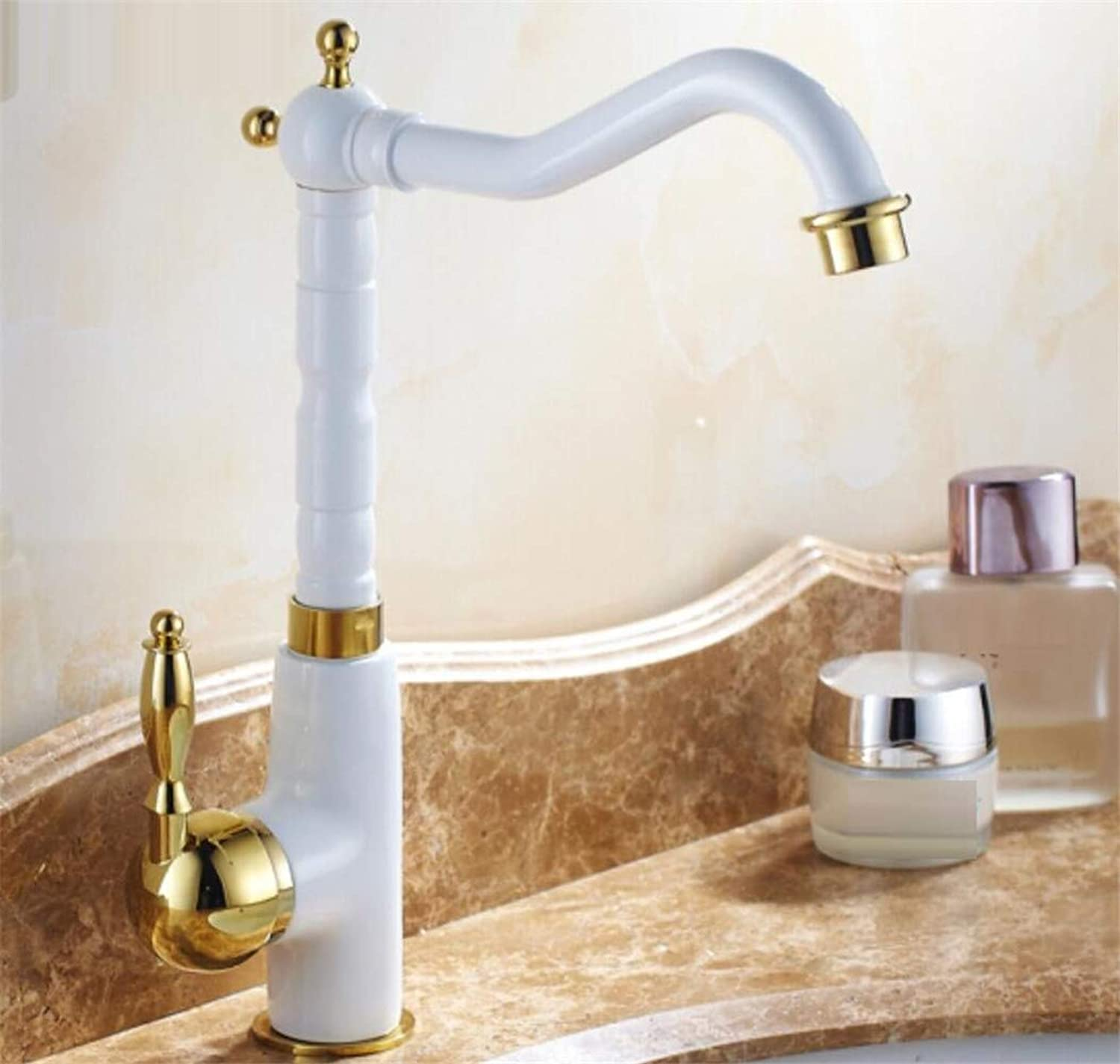 Mucert Antique European Faucet, Cold and Hot Revolving White Faucet, All Copper Pots On Tap,B
